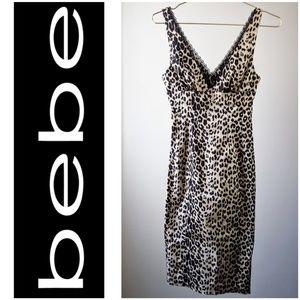 Bebe Sexy Leopard Print Bodycon Dress